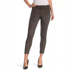 Hue Lace Up Microsuede Skimmer Leggings Gray Cacao
